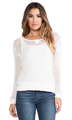 MONROW Cotton Mesh Sweater in White