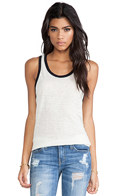 MONROW Colorblock Ringer Tank in White & Black