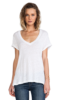 MONROW Linen Jersey Oversized Tee in White