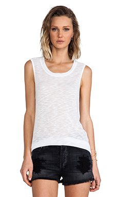 MONROW Poly Rayon Tank in White