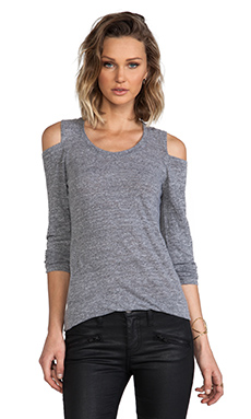 MONROW Open Shoulder Top in Granite