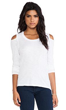 MONROW Open Shoulder Top in White