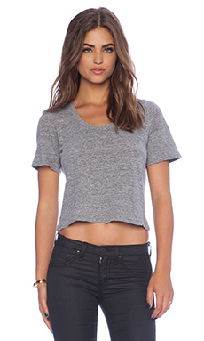 MONROW Granite Jersey Crop Tee in Granite