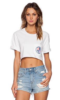 MONROW Get High On Life Cropped Tee in White