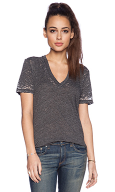 MONROW Burn Out Oversize V Neck Tee in Black