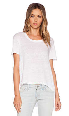 MONROW Linen Asymmetrical Crop Tee in White