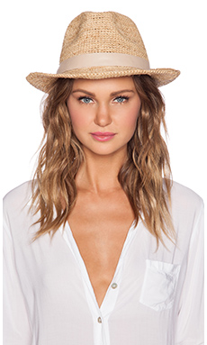 Hat Attack Raffia Classic Fedora in Natural and Natural Leather