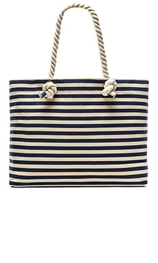Hat Attack Canvas Tote in Navy Stripe