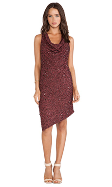 Haute Hippie Sleeveless Cowl Dress with Sequin in Bordeaux
