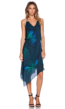 Haute Hippie Love Me Long Time Dress in Black, Teal & Green