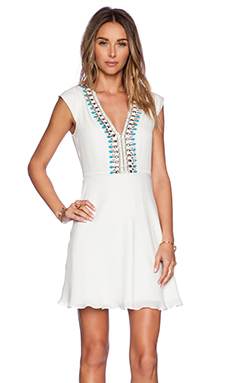 Haute Hippie Embellished Deep V Dress in Swan