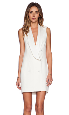 Haute Hippie Short Sleeve Tux Dress in Swan