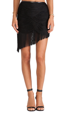 Haute Hippie Trapped Rayon Fringe Skirt with Leather in Black
