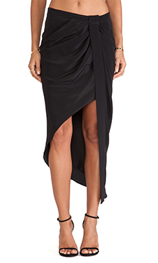Haute Hippie Asymmetrical Skirt with Tux Stripe in Black