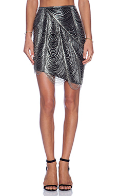 Haute Hippie Fringe Pencil Skirt in Black