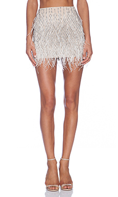 Haute Hippie Ponte Embellished Mini Skirt with Feathers in Buff