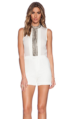 Haute Hippie Short Embellished Onesie in Swan