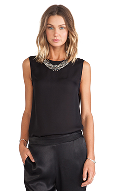 Haute Hippie Sleeveless Blouse with Detachable Dickie in Black