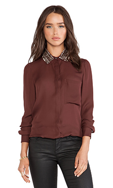 Haute Hippie Seed Bead Collar Blouse in Rasin
