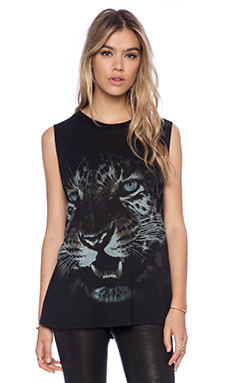Haute Hippie Cheetah Muscle Tank in Grey