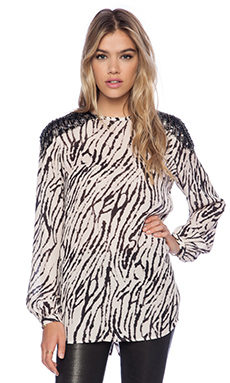 Haute Hippie Long Sleeve Blouse in Buff & Black