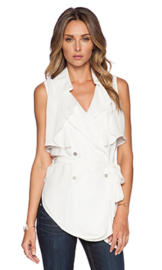 Haute Hippie Sleeveless Trench Blouse in Swan