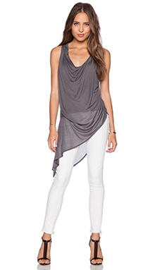 Haute Hippie Asymetric Hem Tank in Coal