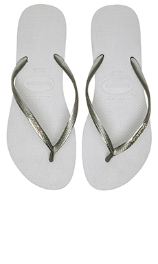 Havaianas Slim Logo Metallic Flip Flop in Ice Grey