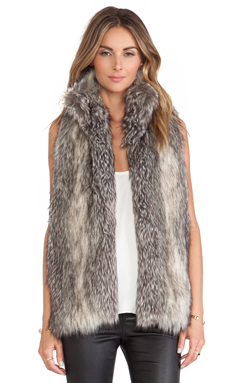 Hunter Bell Caden Faux Fur Vest in Grey