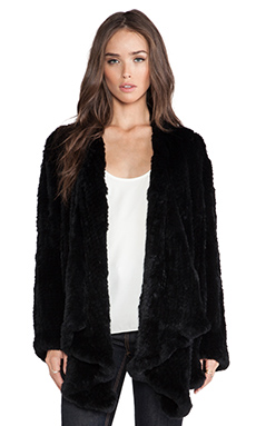 H Brand Ashleigh Rabbit Fur Coat in Black