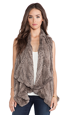 H Brand Audra Rabbit Fur Vest in Grey Smoke