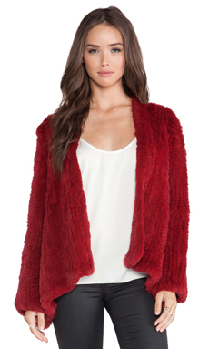 H Brand Emily Rabbit Fur Coat in Red