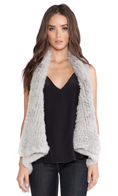 H Brand Indie Rabbit Fur Vest in Ash
