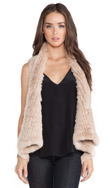 H Brand Indie Rabbit Fur Vest in Camel