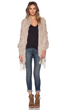 heartLoom Shelby Rabbit Fur Wrap in Stone