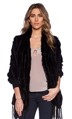heartLoom Shelby Wrap with Rabbit Fur in Black