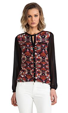 heartLoom Leslie Silk Floral Top in Onyx