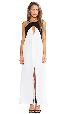 Helena Quinn Triangle Cut Out Maxi Dress in White & Black