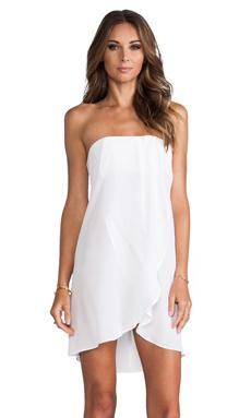 Helena Quinn Strapless Asymmetric Hem Dress in White