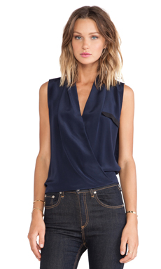 Helena Quinn Danielle Sleeveless Blouse in Navy