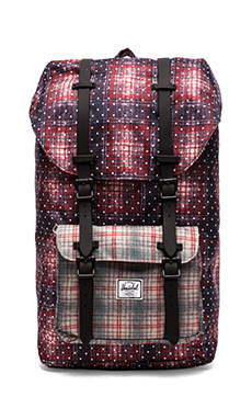Herschel Supply Co. Little America Backpack in Rust Plaid Polka Dot/ Grey Plaid/ Black