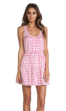 harlyn Tiered Mini Dress in Hot Pink Dot