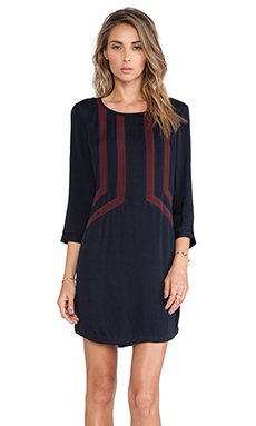 harlyn The Lille Dress in Navy & Bordeaux