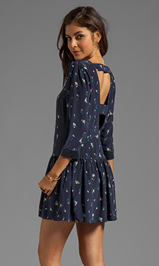 harlyn Drop Waist Cut-Out Dress in Navy Floral