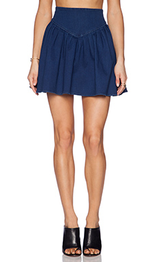 harlyn High Waisted Flare Skirt in Denim