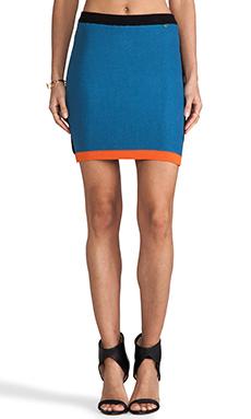 harlyn Blocked Knitted Skirt in Denim & Black & Tangerine
