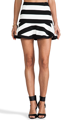 harlyn Peplum Skirt in Black White