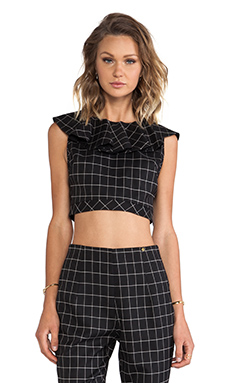 harlyn The Lourdes Crop Top in Black Plaid
