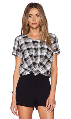 harlyn Front Knot Crop Top in Noir Plaid