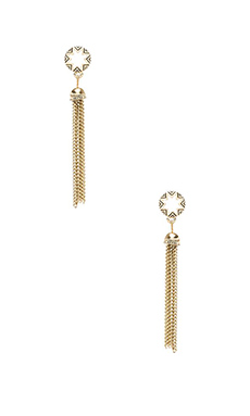 House of Harlow Sunburst Tassel Earrings in White